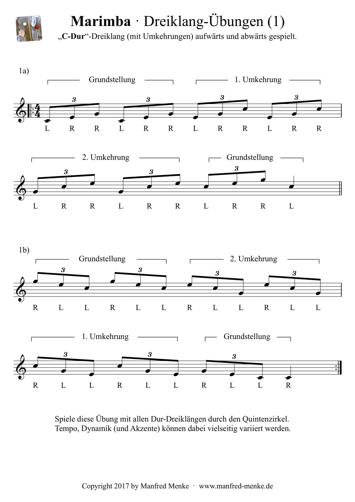 Marimba · Dreiklang-Übungen (Dur)